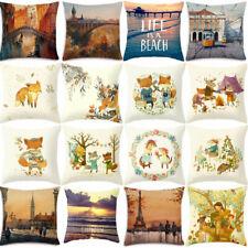 Pillow Linen Oil Cushion Cover Sofa Cotton landscape Pillow Painting Cover Cases