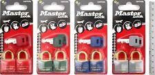 Masterlock par 2 cm Candado Bloqueo de Color Latón Grillete Roja Verde Azul Gris