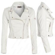 Tamaño 8 10 12 Nuevo Para Mujer Biker Jacket Crop imitación de cuero señoras postal Bata Blanca