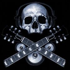 Skull Wearing Headphones Rock & Roll Guitar Music Lovers T-Shirt Tee