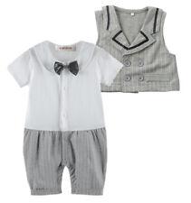 StylesILove Short Sleeve Baby Boy Tuxedo Romper and Vest - White-Grey