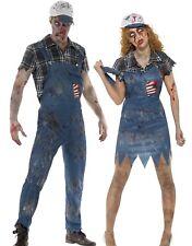 Zombie Hillbilly Costume Mens Ladies Halloween Farmer Fancy Dress Couples New