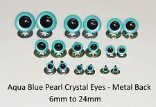 AQUA BLUE PEARL Crystal Eyes with METAL BACKS -Teddy Bear Soft Toy Animal Safety