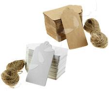 100er Weiss/Packpapier Anhänger Etiketten Tags Geschenkanhänger Kraftkarton 9x4