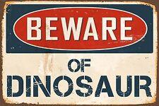 "Beware Of Dinosaur 8"" x 12"" Vintage Aluminum Retro Metal Sign VS467"