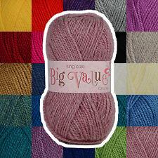 King Cole Big Value Chunky 100% Acrylic Knitting Wool Yarn - Complete Range