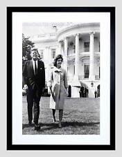 VINTAGE PRESIDEN JOHN KENNEDY JACKIE JFK WHITE HOUSE FRAMED ART PRINT B12X11830