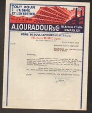 """VITRY (94) & PARIS (XIII°) USINE de PRODUITS D'ENTRETIEN """"A. LOURADOUR"""" en 1949"""