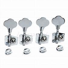 Chrome/Black Set of 4R Bass Guitar String Machine Heads Tuning Pegs Tuners Keys