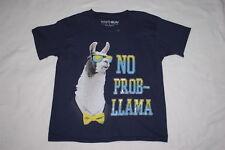 Boys S/S Tee Shirt NO PROB-LLAMA Navy Blue LLAMA Funny Humor XS S M L XL XXL