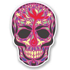 2 X 10 Cm Morado Sugar Skull pegatina de vinilo Ipad Laptop coche Mexicano Cabeza divertido # 5120