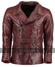 3/4 Vintage Red Distressed Eddie Mens Motorcycle Biker Long Leather Jacket wine