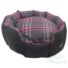 Hem & Boo Dog Pup Tartan Check Padded Oval Snuggle Beds Stylish Design Pink/Grey