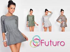 Trendy Women's Mini Dress With Belt Casual 3/4 Sleeve Crew Neck Tunic FT445