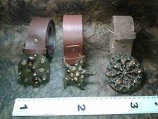 CINTURA PELLE 4 CM FIBBIA gioiello marrone artigianale vintage BELT BUCKLE ME9