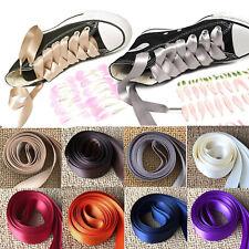 120/80cm Women Girl Kids Silk Ribbon Flat Shoelaces Shoe Laces Sneaker Wholesale
