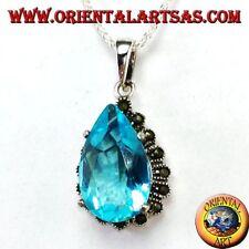 Ciondolo in argento 925 ‰   con Topazio blu a goccia contornata di marcassiti