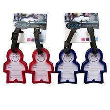 Etiqueta de dirección de viaje equipaje sonriente Etiquetas-Paquete de 2-Durable Rojo o Azul