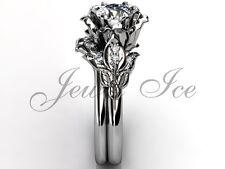 14k White Gold Forever One Moissanite Flower Engagement Ring Set ERMZ-1041-1