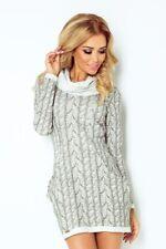 Shirt Pullover Kleid Strickoptik Longpullover Lang Langarm Sweatshirt Rollkragen