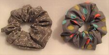 1 x Handmade Grey 100% Cotton Hair Scrunchy Scrunchie Band Tie Accessories