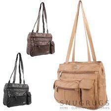 LUX Genuine Leather Shoulder bag compagno di viaggio Nero / Marrone / TAN (ref05375206)
