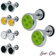 1 Paar Fakeplugs Knöpfe Edelstahl Buttons gelb hellgrün schwarz weiß Rockebilly