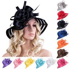 Womens Satin Church Wedding Party Dress Kentucky Derby Ascot Flower Sun Hat A214