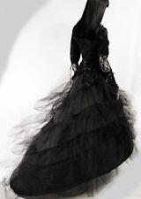 Jupe jupon long gothique baroque mariage princesse traîne tulle cerceaux ruban
