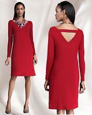 $198 Eileen Fisher Viscose Jersey Ballet Neck Cut Out Back Scarlet Red Dress