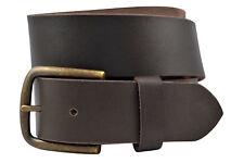 Full Grain Solid 1-Piece Buffalo Leather Belt w/ Brass Buckle - Brown