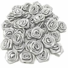 Grey Satin Ribbon Roses Craft Scrapbooking Shabby Chic 25mm Craft Flower