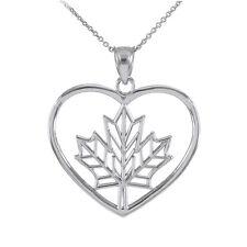 925 Sterling Silver Maple Leaf Open Heart Shape Pendant Necklace