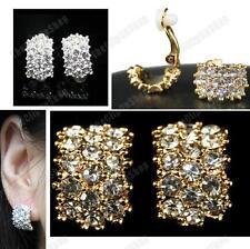 Clip en grandes Huggie Cristal Aretes Rhinestone Silver/Gold Plateado Diamante Clips