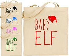 Baby Elf Large Cotton Tote Xmas Stocking Bag Cool Shopping Present Secret Gift