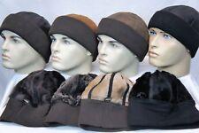 4 COLORS Sheepskin Leather Fur Knit Beanie Cuff Round Bucket Winter Ski Hat M-2X