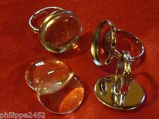 Lot de 1 à 40 Support Bague réglable couleur argent + Cabochon verre 12,16,20 mm