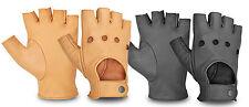 Cuero guantes de conducción Fingerless policía Peso Silla De Ruedas & Biker Velcro botón