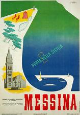 Tw15 VINTAGE 1953 MESSINA SICILIA ITALIANO ITALIA VIAGGI POSTER A2 / A3