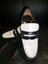 Rockabilly Nuevo Blanco Y Negro Mocasín Cuero Zapatos JIVE