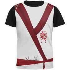 Halloween White Shadow Ninja Costume All Over Mens Black Back T Shirt