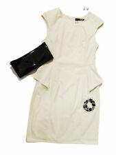 AJOY BEIGE PEPLUM STYLE DRESS WITH HIGH NECKLINE. SIZE. 8,10,12,16.