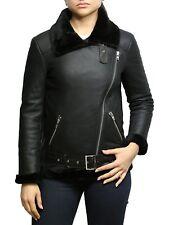 Inverno Donna B3 Aviatore Pelle Di Pecora Reale Montone Giacca Cappotto
