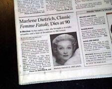 Best MARLENE DIETRICH Hollywood Movie - Film Actress DEATH 1992 L.A. Newspaper