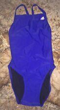 NEW Womens 24 28 34 ADIDAS Solid Vortex Back Royal Blue White 1pc Swim Suit