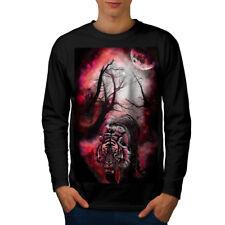 Tiger Red Moon Animal Men Long Sleeve T-shirt NEW   Wellcoda