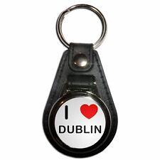 I Love Dublin - Plastic Medallion Key Ring Colour Choice New