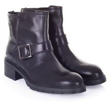 Hogan Tronchetto Biker scarpe Donna Stivaletto in Pelle Nero Shoes Black