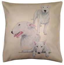 Bull Terrier (B) GRUPO algodón funda de cojín - Crema O Blanco - regalo Artículo