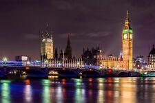 LONDON BRIDGE BIG BEN CANVAS PICTURE PRINT WALL ART UNFRAMED #51